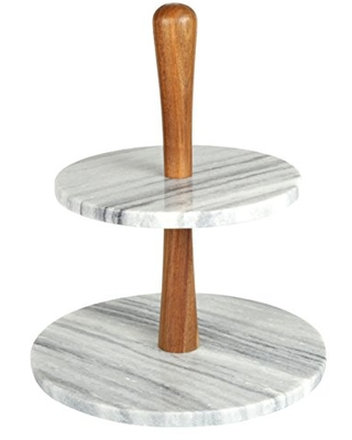 """Creative Home Natural Marble Stone and Acacia Wood 2-Tier Cake Stand Dessert Fruit Plate Pastry Server, 10"""" Diam. x 11-3/4"""" H, Gray (Off-White)"""