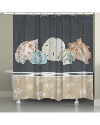 Laural Home Sophisticated Coastal Shells Shower Curtain (71-inch x 74-inch) (71x74)