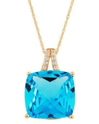 Belk & Co. Gold 8.7 ct. t.w. Sky Blue Topaz and 1/10 ct. t.w. Diamond Pendant Necklace in 10K Yellow Gold