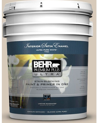 BEHR ULTRA 5 gal. #PPU5-12 Almond Wisp Satin Enamel Interior Paint and Primer in One