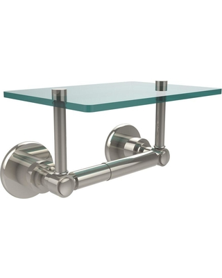 Allied Brass Washington Square Collection Double Post Toilet Paper Holder with Glass Shelf in Polished Nickel