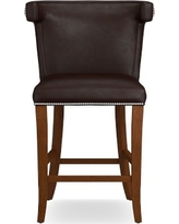Regency Stool, Counter, Walnut, Tuscan Leather, Chocolate
