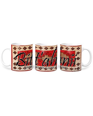 Bit'ahnii (Under His Cover) Navajo Clan with Red Rug Background on 11 Ounce White Coffee Mug