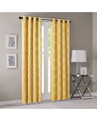 Phenomenal Deals On Madison Park Saratoga Window Curtain Light Filtering Fretwork Print 1 Panel Grommet Top Drapes Valance For Living Room Bedroom And Dorm 50x95 Yellow