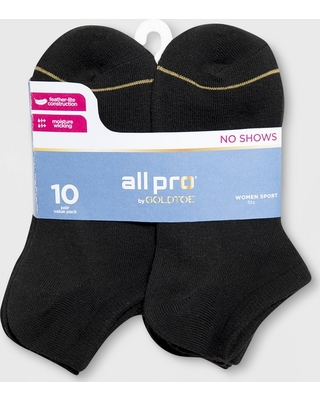 419c30e7760 All Pro by Gold Toe Women s 10pk Lightweight No Show Athletic Socks - Black  4-