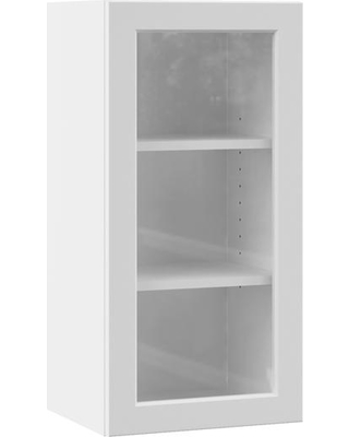 Hampton Bay Designer Series Melvern Assembled 15x30x12 in. Wall Kitchen Cabinet with Glass Door in White