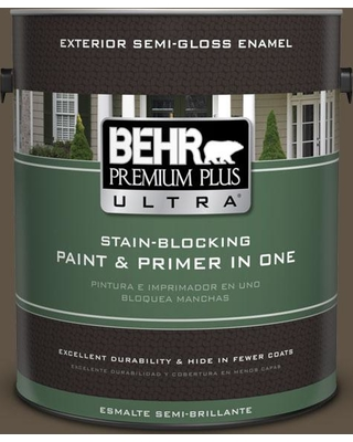 BEHR Premium Plus Ultra 1 gal. #710D-7 Chocolate Cupcake Semi-Gloss Enamel Exterior Paint and Primer in One, Browns/Tans