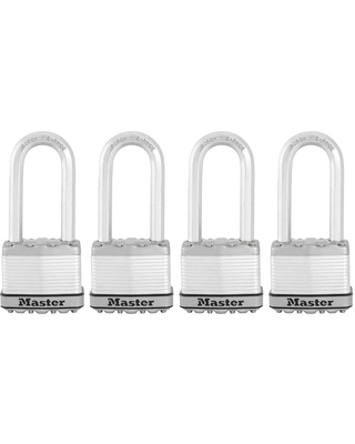 Master Lock Magnum 2 in. Laminated Steel Padlock with 2-1/2 in. Shackle (4-Pack), Silver