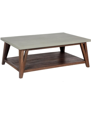 Alaterre Furniture Brookside 48 in. Light Gray Large Rectangle Stone Coffee Table with Concrete-Coating