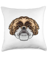 Crazy Animal World Face Cute Shih Tzu Dog Breed Animal for Kids Boys Throw Pillow, 18x18, Multicolor