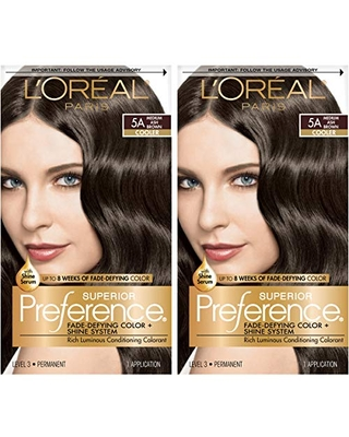 L'Oreal Paris Superior Preference Fade-Defying + Shine Permanent Hair Color, 5A Medium Ash Brown, Pack of 2, Hair Dye