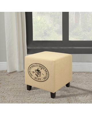 Home Accents Alliance Vintage Recycle Beige D Coffee Design Ottoman