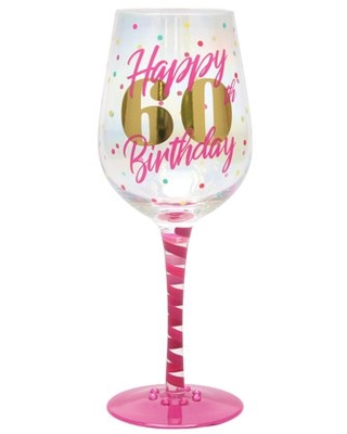 Top Shelf Novelty 60th Birthday Luster Wine Glass for Red or White Wine