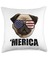 USA & 4th of July Dog Lover Gifts by Art Like Wow Dog Pug American Flag Sunglasses, 4th Of July, Merica, USA Throw Pillow, 18x18, Multicolor