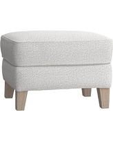 Wingback Ottoman, Chenille Tweed Light Gray