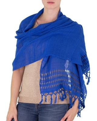 Handwoven Fringed Cotton Shawl in Royal from Nicaragua