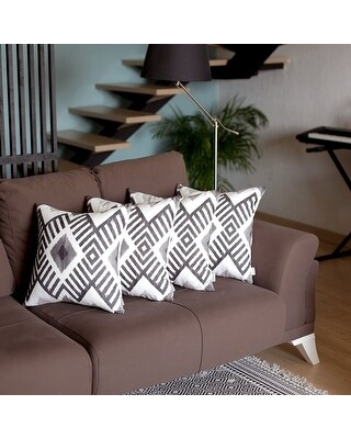 """Mike & Co. Ikat Printed Throw Pillow Cover 18""""x18"""" Set of 4 (Grey)"""