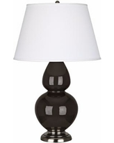 """Robert Abbey 31"""" Coffee Ceramic and Silver Table Lamp"""