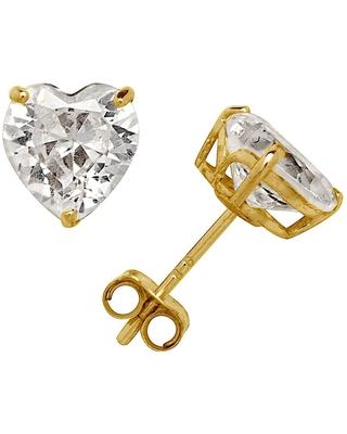 Curata Solid 14k Yellow or White Gold 6mm Heart-cut Cubic Zirconia Basket Post Stud Earrings (White - White)