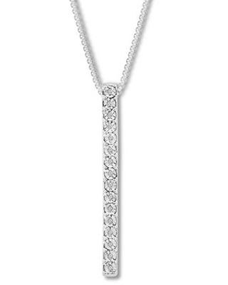 Diamond Stick Necklace 1/20 Carat tw Sterling Silver