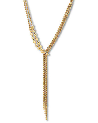 Jared The Galleria Of Jewelry Textured Bead & Rope Chain Lariat Necklace 14K Yellow Gold