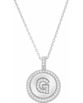 """Sterling Silver Cubic Zirconia Initial Pendant Necklace, Women's, Size: 18"""", White"""