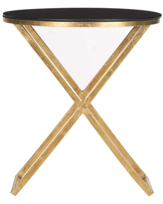 Riona Gold and Black Round Top End Table