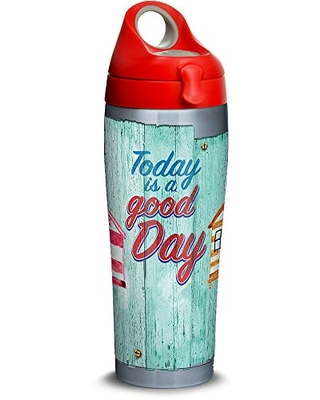 Tervis A Good Day Cabanas Stainless Steel Insulated Tumbler with Lid, 24 oz Water Bottle, Silver