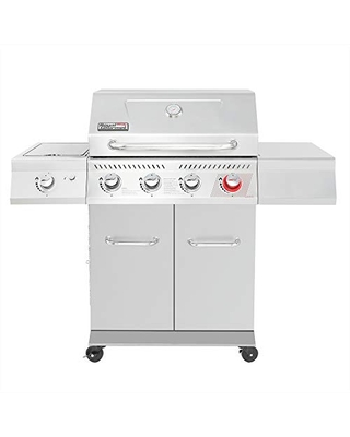 Royal Gourmet GA4402S Stainless Steel 4 BBQ Propane, 54000 BTU Cabinet Style Gas Grill with Sear Side Burner Perfect Patio Garden Picnic Backyard Party, Silver
