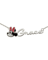 Disney Personalized Girls Minnie Mouse Sterling Silver & Enamel Name Necklace, One Size , White