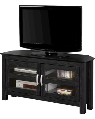 "44"" Modern 2 Glass Door Corner TV Stand Black - Saracina Home"