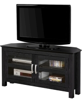 Corner TV Stand With Glass Doors - Black (44) - Walker Edison