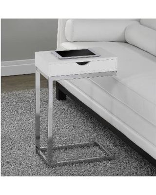 Glossy White Hollow-Core / Chrome Metal Accent Table - Monarch Specialties I-3031