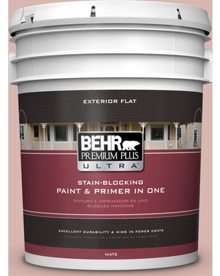 BEHR Premium Plus Ultra 5 gal. #170E-3 Bridal Rose Flat Exterior Paint and Primer in One