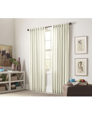 allen + roth 63-in Ivory Polyester Light Filtering Interlined Back Tab Single Curtain Panel in Off-White | X602 .22663ZBG