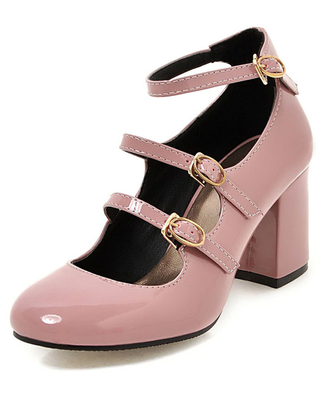 Pink Chunky Heels Round Toe Buckled Ankle Strap Pump Shoes For Women