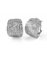 Collette Z Sterling Silver Cubic Zirconia Hammered Hoop Earrings - White (White - White)