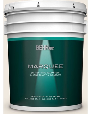BEHR MARQUEE 5 gal. #ECC-57-2 Shady White Semi-Gloss Enamel Interior Paint and Primer in One