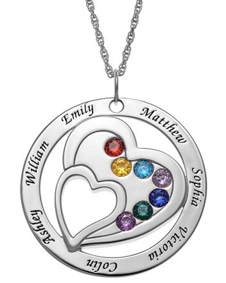 Personalized Women's Sterling Silver or Gold over Sterling Engraved Family Name and Birthstone Necklace