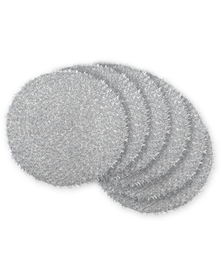 Set of 6 Silver Tinsel Woven Round Placemat - Design Imports, Black