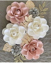 BUBBAPAINT. 3D Paper Flower Decorations for Wall. Backdrop for Décor. Giant Size Pre-Assembled Flower. Girld Nursery Wall Decor. Party Decor Wendding, Bridal Shower, Rooms. Pink, Withe, Grey and Gold