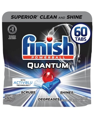 Finish Quantum, 60 ct, with Activblu Technology, Dishwasher Detergent Tabs, Ultimate Clean and Shine