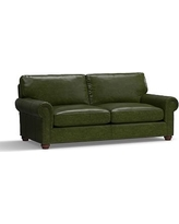 "Webster Leather Sofa 86"" with Bronze Nailheads, Down Blend Wrapped Cushions, Leather Legacy Forest Green"