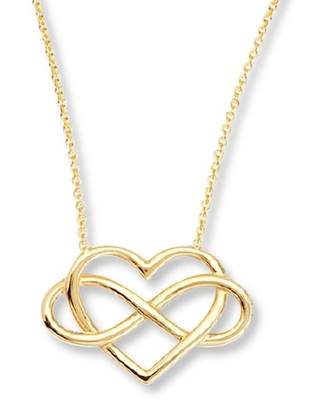 Jared The Galleria Of Jewelry Heart Infinity Necklace 14K Yellow Gold