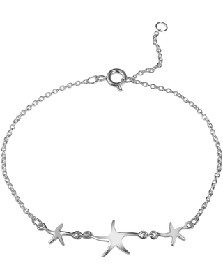 Handmade Three Lucky Charm Starfish .925 Sterling Silver Bracelet (Thailand) (Fashion)