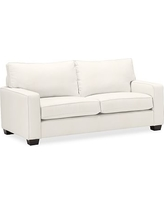 PB Comfort Square Arm Upholstered Deluxe Sleeper Sofa, Polyester Wrapped Cushions, Denim Warm White