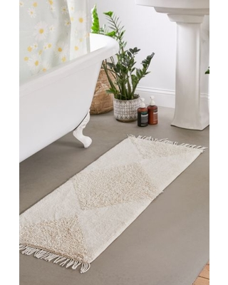 Looped Geo Runner Bath Mat - White at Urban Outfitters