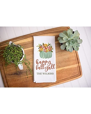 Personalized Happy Fall Y'all Kitchen Towel   Custom Fall Waffle Weave Dish Towel   Personalized Kitchen Towel   Seasonal Decor   Personalized Dish Towel   Fall Kitchen Towel   Fall Decor