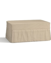 Charleston Slipcovered Ottoman, Polyester Wrapped Cushions, Twill Parchment