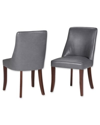 Simpli Home™ Faux Leather Upholstered Dining Chairs in Grey (Set of 2)